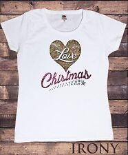Donna T-shirt Bianca Natale cuore amore Effetto Glitter Stampa