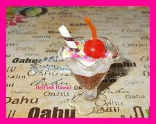 HANDMADE Chocolate Ice Cream Sundae Sprinkle Straw Silver Plated Charm Necklace