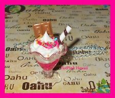 HANDMADE Hot Pink Ice Cream Sundae Sprinkle Chocolate Bar Charm Silver Necklace