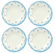 Dollhouse Miniature Set of 4 Blue Dotted Dinner Plates in Porcelain