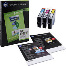 Genuino HP 935xl ALTA CAPACIDAD 3 COLOR Cartucho de Tinta & A4 Papel Paquete (