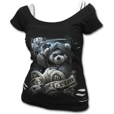 SPIRAL DIRECT Ted The Grim womens 2 in 1 top gothic/teddy bear/reaper/goth/emo