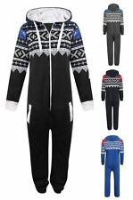 New Unisex Kids Boys Girls Aztec Print Zipped Hooded One Piece Jumpsuit 7-14 Yrs