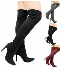 New Ladies Thigh High Over the Knee Stiletto Heel Faux Suede Pointed Toe Boots