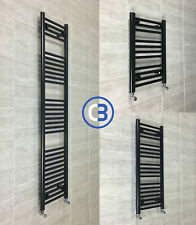 450 mm Wide Black Designer Heated Towel Rail Radiator Rad Rack Warmer Straight