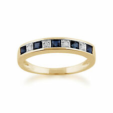 9 Ct Or Jaune 0.4ct CT SAPHIR NATUREL ET DIAMANT demi- Eternity BAGUE TAILLE