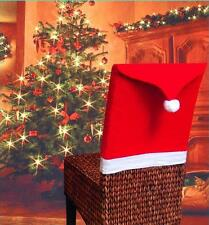 Santa Clause Red Pom Hat Chair Back Covers XMAS Dinner Table Party Decoration