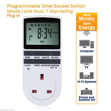 Pro 230V UK Plug In Digital LCD Display Programmable Timer Switch Socket 24hrs