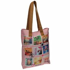 Soul Cal Striped Tote Beach Bag Pink Summer Carryall