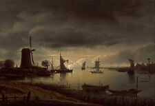 """Anthonie van Borssom: """"River Scene with Windmill and Boats"""" — Fine Art Print"""