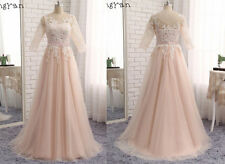 Champagne Applique Long Formal Ball Gowns Party Bridesmaid Evening Prom Dresses