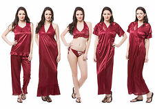 Fasense Satin Nightwear 6pc Set of Nighty Wrap Gown Top Pyjama Bra & Thong DP114