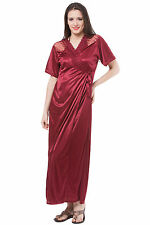 Fasense Exclusive Women Satin Nightwear 2 PCs Set Of Nighty & Wrap Gown DP112 A