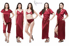 Fasense Satin Nightwear 6pc Set of Nighty Wrap Gown Top Capry Bra & Panty DP116