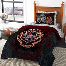 HARRY POTTER HOGWARTS 7 PC BED SET COMFORTER FLAT FITTED SHEET PILLOWCASES SHAMS