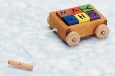 Dollhouse Miniature Toy Wagon with Letter Blocks