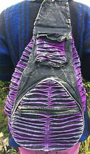 Purple Slash Patchwork Backpack, Cotton Rucksack, Hippy Boho Festival Goth