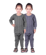 Kids Unisex Body Warmer Thermal Wear (Upper/Lower) Color Grey/Blue (pack of 2)