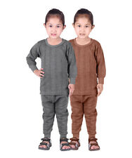 Kids Unisex Body Warmer Thermal Wear (Upper/Lower) Color Grey/Brown (pack of 2)