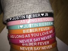 Justin Bieber wristbands with justin bieber catchphrases