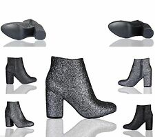 Ladies Womens Chunky Block Low Heel Ankle Boots Chelsea Glitter Party Shoes