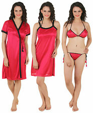 Fasense Women Satin Nightwear 4 PCs Set, Nighty, Robe, Bra & Thong DP100 A