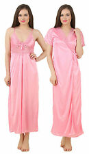 Fasense Women Satin Nightwear Sleepwear 2 PCs Set of Nighty & Wrap Gown GT005 B