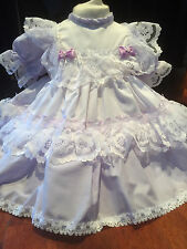 DREAM BABY GIRLS TRADITIONAL ROMANY FRILLY DRESS  LILAC OR REBORN DOLLS