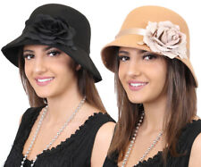 1920'S CLOCHE HAT WITH FLOWER LADIES VINTAGE GATSBY GIRL FANCY DRESS COSTUME