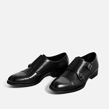 Zara Man Black leather Shoes With Buckles. Double Monk Strap | Export Surplus