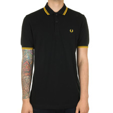 Fred Perry Twin Tipped Polo Shirt - Black / New Yellow