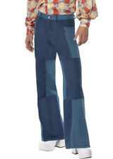 Mens 70s Denim Patchwork Flared Trousers