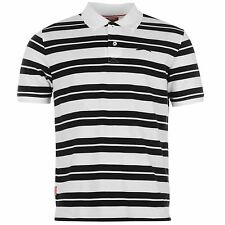 Slazenger Pique Yarn Dye Polo Shirt Mens White/Black Top T-Shirt Tee