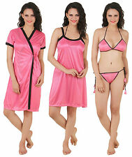 Fasense Women Satin Nightwear 4 PCs of Set, Nighty, Robe, Bra & Thong DP100 B
