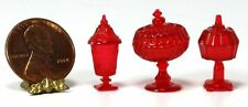 Dollhouse Miniature Chrysnbon Set of 3 Red Candy Jars