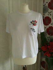 NEW OFFICIAL DISNEY WHITE CROPPED MICKEY & MINNIE MOUSE POCKET T-SHIRT