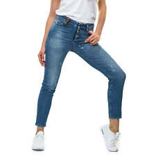 Object Damen Boyfriend Jeans Jeanshose Damenjeans Stretch Blue Denim Used Look