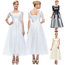 Womens LACE DRESSES Bridesmaid Wedding Evening Prom Party Ball Gown Formal Long