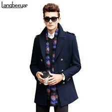 Mens Wool Double Breasted Pea Coat Long Winter Jacket