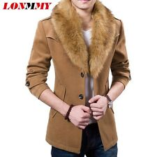 Mens Wool Blend Fur Collar Long Trench Coat Casual Jacket