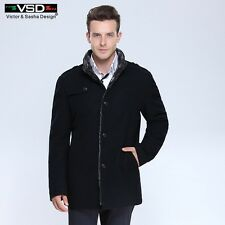 Mens Thick Wool Blend Casual Trench Overcoat Slim Fit Jackets Coat