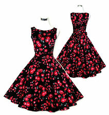 1950s BLACK RED GREY FLORAL PRINTED COTTON SWING DRESS S M L XL 8 10 12 14 16