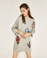 ZARA BLOGGERS GREY SWEATER DRESS WITH FLORAL EMBROIDERED PATCHES 5643/236 S M