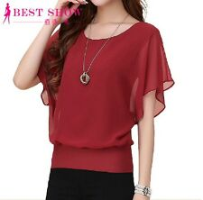 Womens Tops Fashion Chiffon Blouse Short Sleeve Casual Shirt