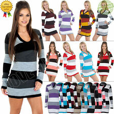 New Women's Ladies Sexy V Neck Long Sleeves Striped Knitted Mini Dress Jumper