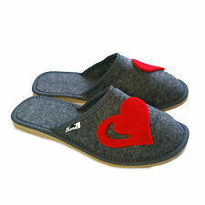 Women Ladies Premium Red Heart Grey Lightweight Mule Slippers  Size 3 4 5 6 7 8