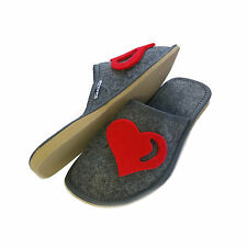 Womens Ladies Girls Hot Red Heart Grey Slip on Mule Slippers Size 3 4 5 6 7 8