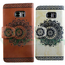 Custodia cover eco pelle TRIBAL FLOWER stand tasche per Samsung Galaxy S7 G930F