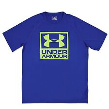 UNDER ARMOUR HERREN UA BOXED LOGO HEATGEAR TRAININGS SHIRT SPORT FITNESS BLAU L