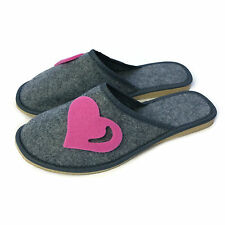 Women Ladies Premium Pink Heart Lightweight Mule Grey Slippers  Size 3 4 5 6 7 8